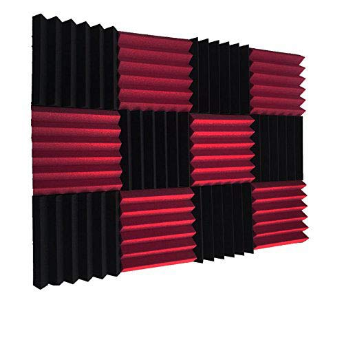 Akustik-Schaumstofffliesen, keilförmig, 5,1 x 30,5 x 30,5 cm, Burgunderrot / Schwarz, 12 Stück