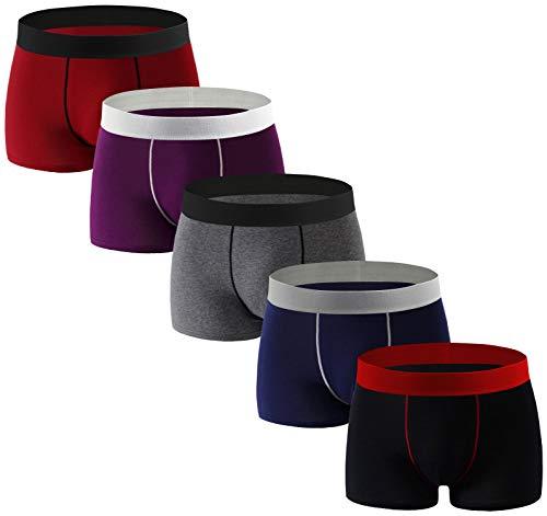 Aserlin Men#039s Underwear Boxer Briefs 5 Pack Cotton No Rideup Sport UnderwearS5ShenXXL