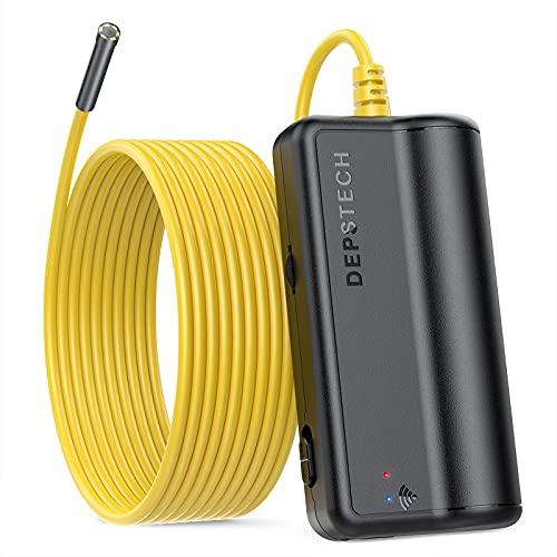 DEPSTECH WiFi Endoscopio Industriale Wireless Camera, Megapixel 5MP HD Semirigido Telecamera di Ispezione Impermeabile, Borescope Camera Compatibile con Samsung/Android/iPhone/iPad (5 Metri)