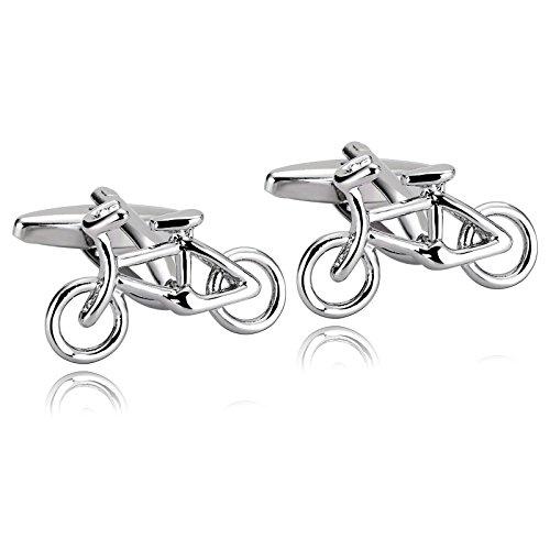 AYDOME Cufflinks Silver Wedding, Stainless Steel Bike Bicycle for Grandpa