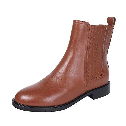 Schoenen-YRQ dames Martin laarzen lederen blokhak enkellaarzen voor vrouwen met middenhak zool en ritssluiting Chelsea laarzen 43 BRON