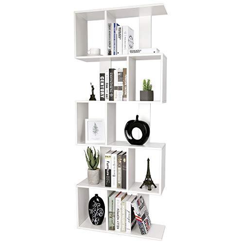 amzdeal Bücherregal Weiß, Standregal Holz mit 5 Ebenen, 175x70x23.5cm, Dekoregal I S-Form zur Präsentation, Regal Bücherschrank Büroregal inkl. Befestigungsmaterial, Verstärktes Design