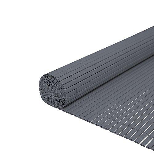 WIS Sichtschutzmatte Grau PVC-Matte Windschutz Sonnenschutz | Für Garten Ausstellungsräumen | Farbwahl Kürzbar Größe wählbar | Kabelbinder Sichtschutz | Höhe 180cm | Länge 3m