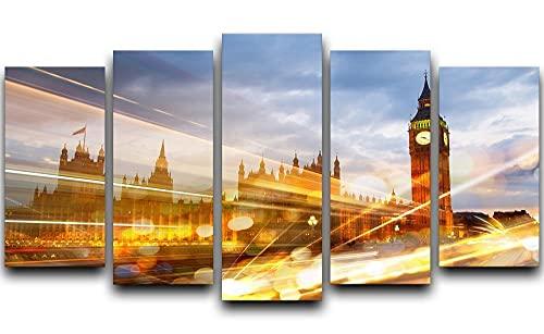 CCAR XXL Leinwanddruck Bilder Sonnenuntergang Big Ben und Houses of Parliament leinwand 5 teilig Leinwandbilder 150x80cm 5 TLG abstrakt Wandbilder Wanddekoration Design für Küche Schlafzimmer 5er Set