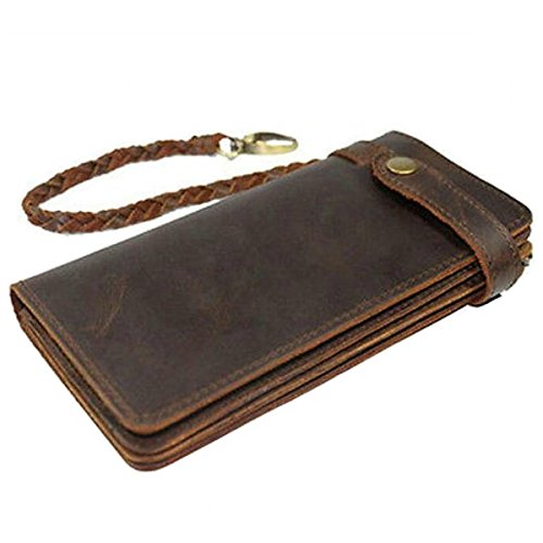 Itslife Men's RFID BLOCKING Brown Bifold Vintage Hand Made Leather/Metal Chain Wallet