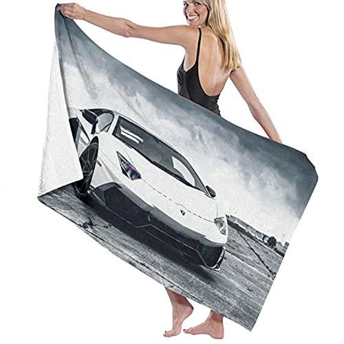 Toalla de baño de Microfibra,White Boys Fast Car Cool Sports,Toallas de Playa absorbentes y Ligeras para la Piscina de Viaje, natación, Acampada, Yoga, Gimnasio, Deporte, 52'x32'