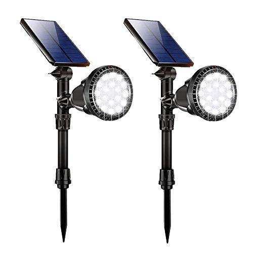 Lampada Giardino Solare, GIANTARM 18 LED Luce Solare Esterna Super Luminosa,IP65 Impermeabile,Lampada a LED Segnapassi per Esterno,Luci di sicurezza,Faretti da Giardino Solare (2 pezzi)