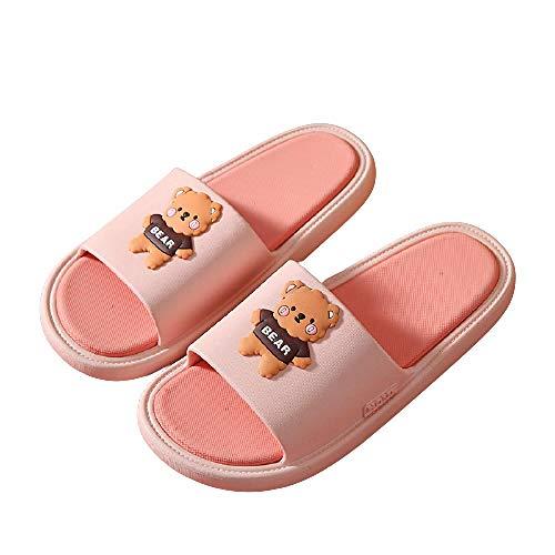 XZDNYDHGX Zapatillas De BañO Rosa, Sandalias de Dibujos Animados de Verano para Mujer, Zapatillas Chanclas Antideslizantes de baño para Parejas de Interior para Hombres, EU 37-38