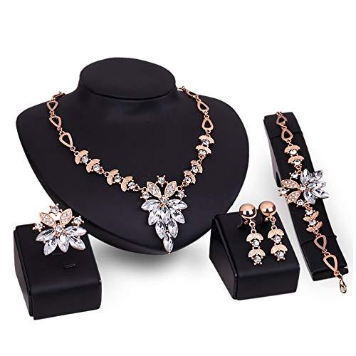 LeftSuper Conjunto, 61152106 Conjunto de Adornos para niñas Collar de señora Pulsera de Mujer Par de Pendientes