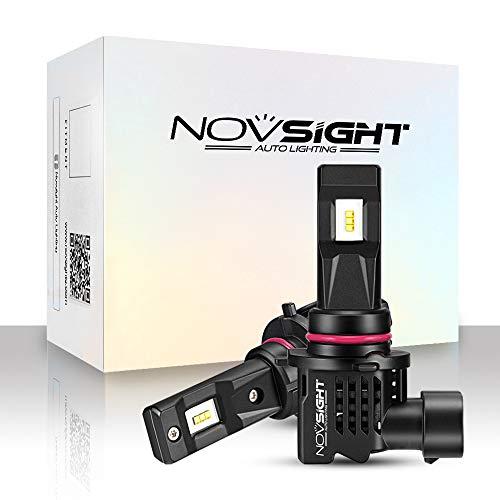 NOVSIGHT Kit de Conversion Ampoules 9005/HB3/H10 LED de Voiture,Phares de Auto 10000LM/Paire 55W/Paire 6000K Blanc,Lampes de Remplacement pour Ampoules Halogènes/Xénons