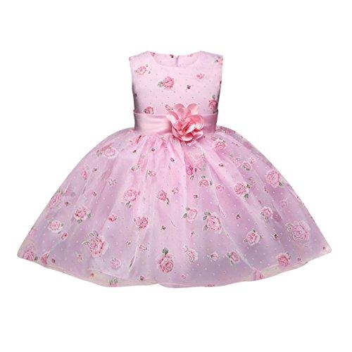 Enfants Party Dress pour Filles Fleurs Sans Manches De Mariage Formel Rose Princesse Demoiselle D'honneur Baptême Robes De Soirée Âge 2-8 Ans
