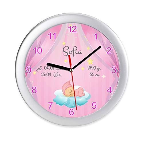 Wanduhr Kinderzimmer Baby Mädchen Geburt Geburtsdaten Uhr zur Geburt & Taufe