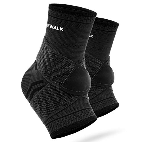 VANWALK Ankle Brace (Pair), Adjustable Ankle Support Compression Socks for Achilles Tendon Support and Plantar Fasciitis, Relieve Ankle Swelling Joint Pain (Black, L)