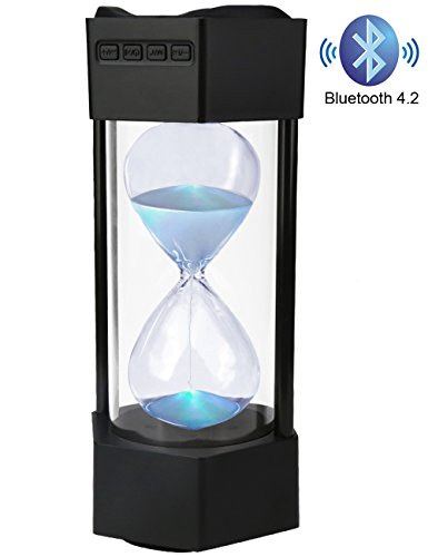 Bluetooth Speaker for iPhone, Portable Bluetooth Speaker with LED Light, Bass Sound, Mobile Speaker Indoor with Glass Hourglass (Black)