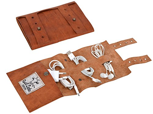 Gusti Kabelorganizer Leder - Wilma Kabelklemme Kabelhalter Vintage Braun Leder