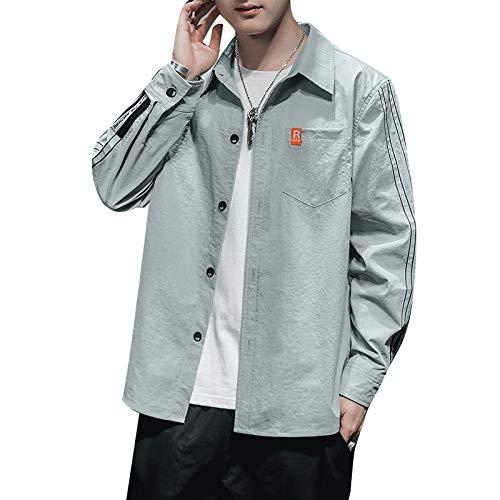 Camisa de Manga Larga para Hombre, Primavera y otoño, Tendencia Coreana, Camisa Informal, botón clásico, Chaqueta Informal para Todos los Partidos L