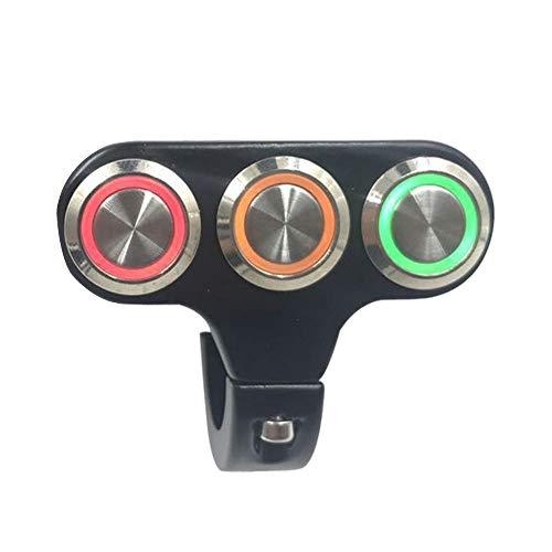 Interruptor de montaje para manillar de motocicleta Langrms, 22 mm, compatible con faros antiniebla en off, de aleación de aluminio con luz indicadora