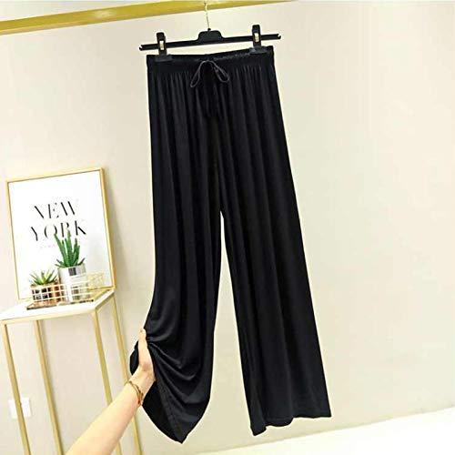 AOZLOVEC Pantalones de pierna ancha sueltos de cintura alta Pantalones anchos de gran tamaño para mujer Pantalones finos de todo partido Pantalones casuales de pierna recta M (40-60 kg) Negro