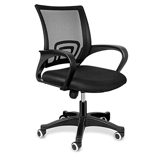 Simple Deluxe Task Office Chair Ergonomic Mesh Computer Chair with Wheels and Arms and Lumbar Support Adjustable Height Study Chair for Students Teens Men Women for Dorm Home Office,Black