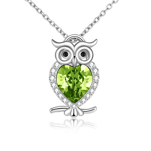 WINNICACA Owl Necklace S925 Sterling Silver Green August Birthstone Owl Pendants Cute Animals Jewellery Gifts for Women Girls Owl Lover