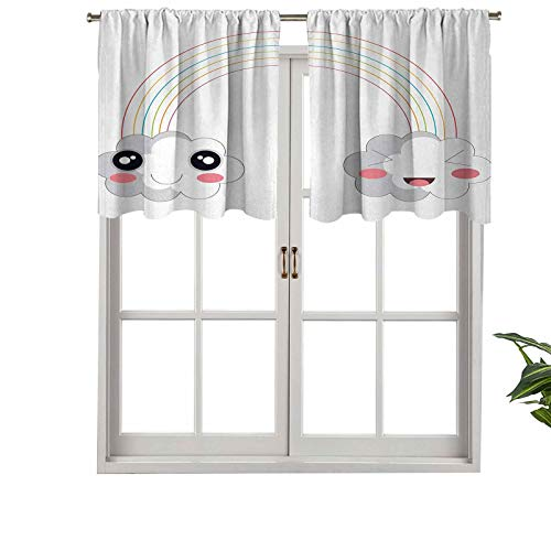 Hiiiman Thermal Insulated Draperies Valance Panel Two Clouds a Rainbow Happy Face Expressions Japanese, Set of 2, 42'x36' for Living Dining Room Decoration