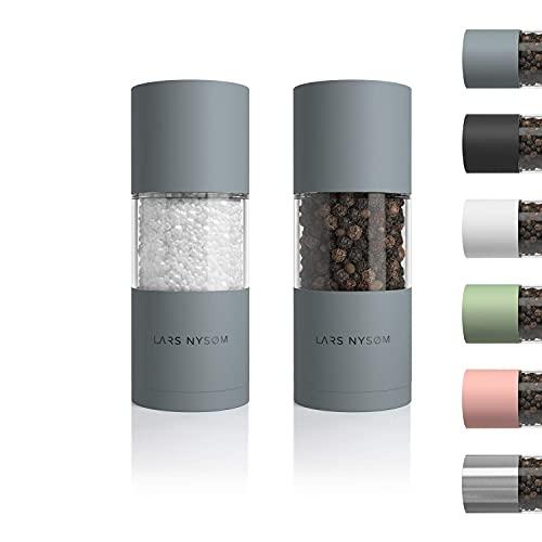 LARS NYSØM Salz und Pfeffer Mühlen Set aus Edelstahl mit einstellbarem Keramik-Mahlwerk 2 Stück I Design Gewürzmühlen Set Manuell (2er Set, Grau)