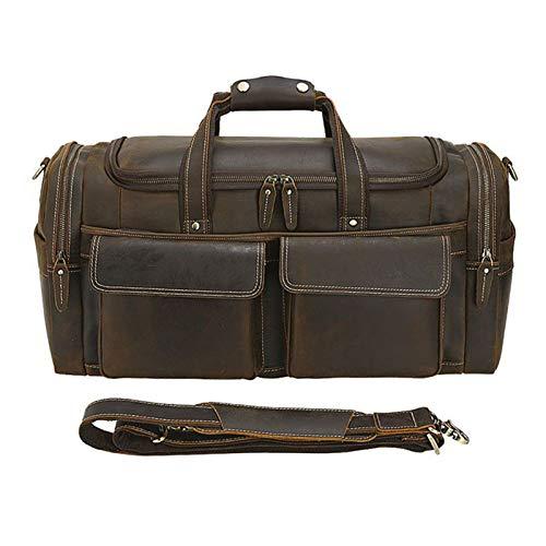 Unisex Travel Holdall Luggage Weekend Handbag, Mens Vintage Crazy Horse Leather Travel Holdall Duffle Bag Weekend Overnight Large Tote Bag Luggage Shoulder Crossbody Handbag Carry on Shoulder Tote Bag