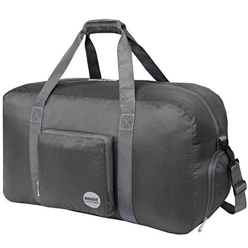 Faltbare Reisetasche 60-100L Superleichte Reisetasche für Gepäck Sport Fitness Wasserdichtes Nylon von WANDF (grau, 60L)