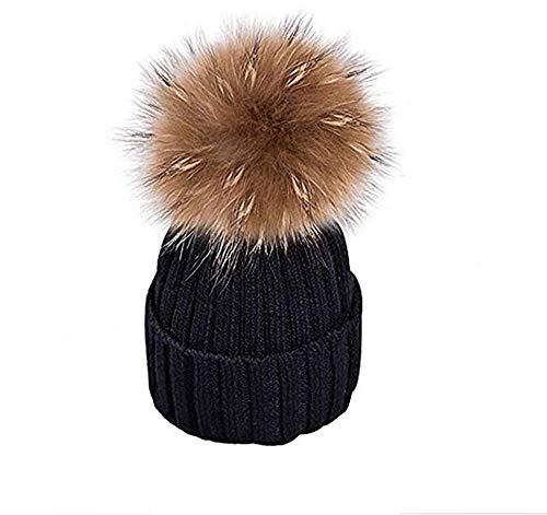 EXQULEG Warm Mütze, Echtfellbommel Pudelmütze,Winter-Mütze Bommelmütze Pelzbommel Waschbär Raccoon Pelz (Schwarz)
