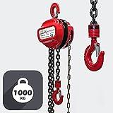 Polipasto manual de cadena 1000kg con cadena 3m y altura de elevación de 3m, para levantar cargas