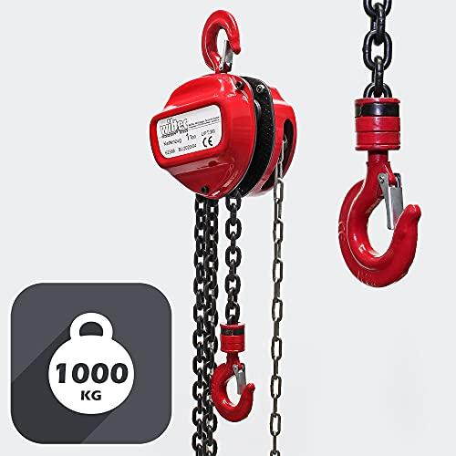 WilTec Palan à chaîne de 1000 kg Longueur chaîne 3m Hauteur de Levage de 3 m