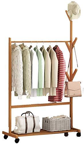 Verrijdbare kleerhanger, verticale garderobe opslagrek, multifunctionele garderobe, woonkamer, slaapkamer, houtkleur 80 x 38 x 176 cm 70 x 38 x 176 cm, houtkleur.