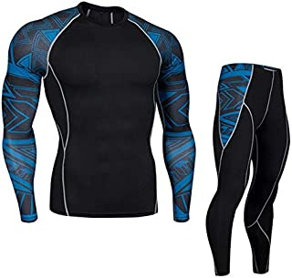 BEESCLOVER Track Suit 2 Piece Tracksuit Men Compression Tights t-Shirt Jogging Suits Gym Training Pants Men Leggings MMA ClothingTop Sports