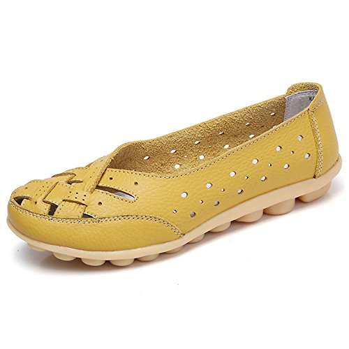 Mocasines para Mujer Ligero Loafers Casual Zapatillas Verano Zapatos del Barco Zapatos para Mujer Zapatos de Conducción Amarillo 38EU=39CN