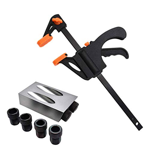 14pc/ 8pc/7pc /3pc Pocket Hole Jig Replaceable 6mm 8mm 10mm Drill Guide Back Dowel Jig Kit Wood Drill for Woodworking Jointing-8pcs Grey