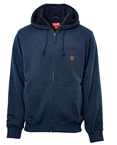 Coleman Men's Sherpa Lined Hoodie Full Zip Jacket (X-Large, Indigo)