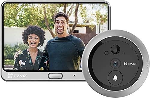 EZVIZ DP1C - Mirilla con videoportero Integrado para Puertos con Wi-Fi y Pantalla de 4,3 Pulgadas, vídeo HD 720p, función día/Noche, Sensor PIR Integrado