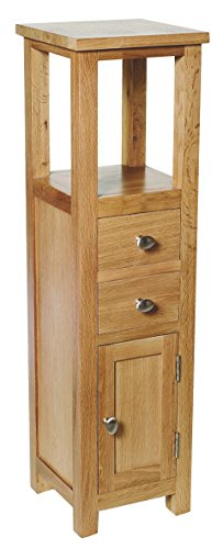 Hallowood Waverly Tall Cabinet in Light Oak Finish | Small Solid Wooden Bathroom Cupboard/Tower | Bedside/Telephone Console Table, WAV-CUP940