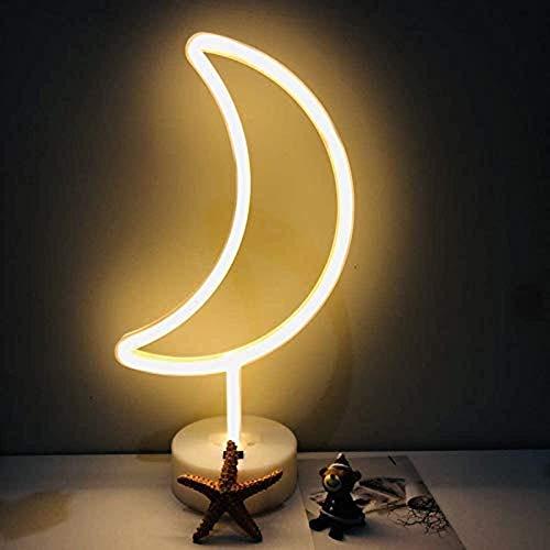 LED-Mond Neonlicht Zeichen Neon Schilder Lampen Blitz Neon Lights warmes Weiß Dekor-Blitz Neonlichter Batterie/USB Powered Nachtlicht für Weihnachten Kinderzimmer Wohnzimmer Hochzeit Dekor