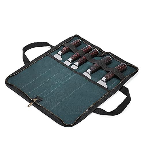 Estuche enrollable para cuchillos de cocina con 5 ranuras, bolsa para cuchillos de cocina, bolsa para utensilios de cocina, lona encerada, resistente al agua, color verde oscuro