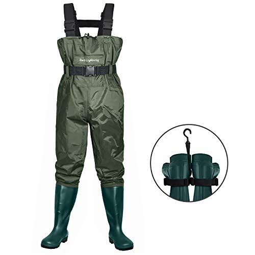 Dark Lightning Wathose zum Fliegenfischen für Damen und Herren, mit Stiefeln, für Herren/Damen, hohe Wathose mit Stiefelaufhänger (grün, M14)