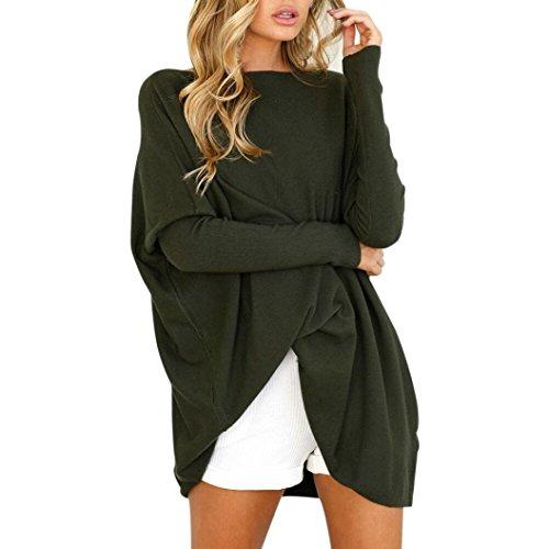 Honestyi Honestyi Damen Pullover, Damen Langarm Round Hals locker Bluse Casual Tops (XL, Armee Grün)