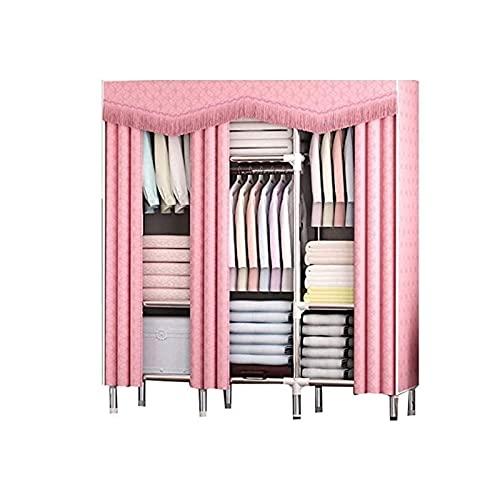 LICHUAN Armario de lona portátil grande, organizador de almacenamiento de ropa para ahorrar espacio para el dormitorio (color: rosa)