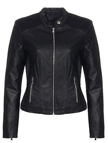 Malito Damen Jacke | Kunstleder Jacke | lässige Biker Jacke mit Steppung | Jacke mit Stehkragen | Faux Leather 5195 (schwarz, XL)
