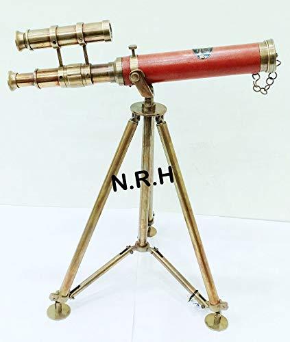 Náutico Doble Barril latón Antiguo Spyglass telescopio en Mesa Parte Superior trípode Soporte