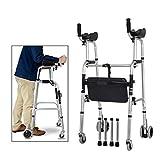 Cayin Assist Wanderer ältere Menschen Faltbare Walker Einstellbare Gehen Rädern ausgestattet Ausgestattet mit Armauflagen Pad for die begrenzte Mobilität mit Behinderte, Vier Räder & Sitze & Bag