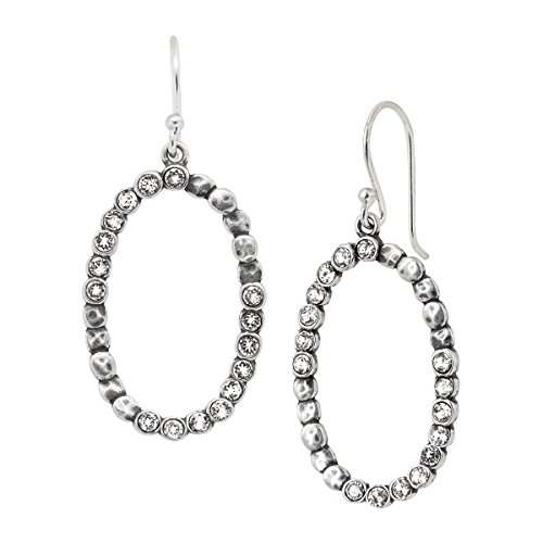 Silpada 'Oval Glitz' Beaded Open Drop Earrings with Swarovski Crystals in Sterling Silver