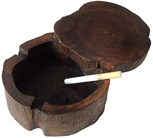 AMITD teakhouten asbak met afdekking voor smoking weed sigaret vintage handwerk asbak tafel decoratieve indoor outdoor