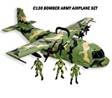 Giant C130 Bomber Army Airplane Toy for Kids - Air Force Combat Military Fighter Toy Airplane with Lights and Sounds and Mini Soldiers Army for Boys Gift