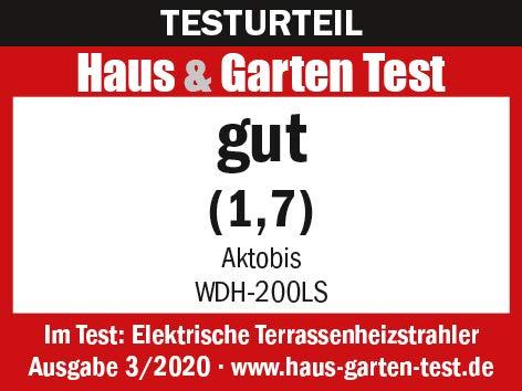 Aktobis Decken-Heizstrahler, Balkonheizer, Zeltheizer WDH-200LS (Schwarz + bis 2.000 Watt + LED Lampe) - 3